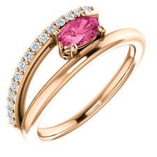 Neues AngebotRosa Turmalin & 1/8 Karat Diamant Umgehen Ring IN 14K Rose Gold