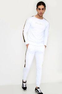 Mens tracksuit, baroque sports full jogging set, slim fit white urban fashion