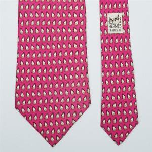 HERMES TIE 5143 HA Penguin on Hot Pink Classic Silk Necktie