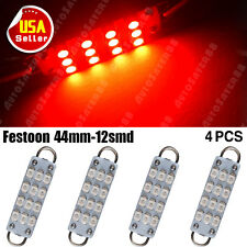 "4X RED 44mm 1.73"" 12-SMD Festoon Rigid Loop Interior LED Light 561 562 563 564"