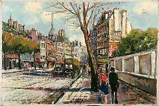 ZAVOLI Signed Vintage Mid Century ea.1960's Italian? Oil Painting PARIS ST SCENE