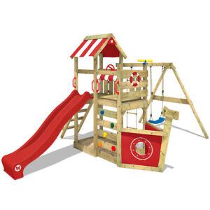 WICKEY Spielturm Klettergerüst SeaFlyer mit Schaukel & roter Rutsche, Baumhaus