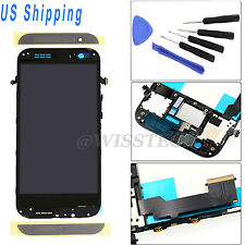 HTC One M8 LCD Touch Screen Glass Digitizer Complete Assembly + Frame Black US