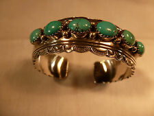 GORGEOUS LARGE STERLING SILVER TURQUOISE WILL DENETDALE NAVAJO BRACELET ARIZONA