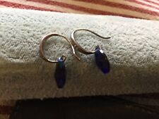Silver Sapphire Earrings Vintage Dangle Diamond Sterling