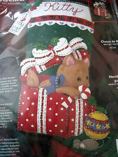 BUCILLA STOCKING Holiday FELT Applique Craft KIT,KITTY'S CHRISTMAS,84852,Cat,18""