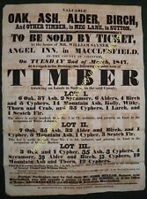 1847 TIMBER SALE at MEG LANE, SUTTON, Cheshire, Archive lot with printed POSTER