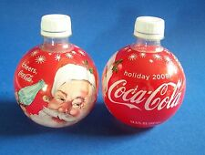 Coca Cola 2009 Holiday Ornament Bottle Round Santa Roly Poly Empty Coke Crafters
