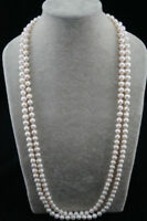 Beautiful Natural Long 54inch 7-8mm White Freshwater Cultured  Pearl Necklace