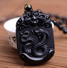 Zodiac pendant natural obsidian amulet snake