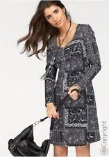 BOYSEN'S Kleid Jersey Patchwork Grau Bedruckt Neu 52