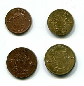 Thailand 5 & 10 Satang BE 2500 (1957) KM-78/78a/79/79b Bronze / AlBr Rama IX (4)