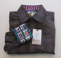 Robert Graham Dagmar Purple L shirt mens mustache embroidery sport New check