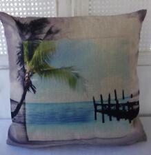 Hamptons Rustic Tropical Jetty Beach Linen Look Cushion Cover 45cmn