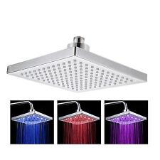 "Hot LED Changing 8""Square Rain Bathroom Temperature Sensor Discolour Shower Head"