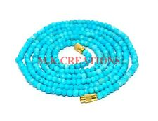 3-4MM Genuine Natural Turquoise Faceted Beads Beaded Necklace Strand Jewelry
