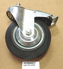 New 6 Black Hard Rubber Swivel Caster Wheel With Brake 58 11 Threaded Stem