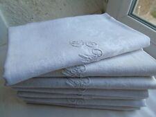 "French 7 of napkins  table linens cloth monogrammed  "" M P "" antique vintage"