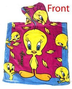 Tweety Bird Looney Tunes Hooded Beach Bath Towel 60cm x 60 cm - 120 cm laid Flat