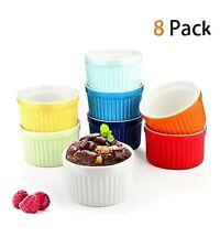 Oven Safe Porcelain Ceramic Ramekins Souffle Bowl Baking Bakeware Dish Set 8pc
