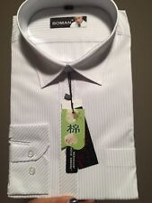 mens business shirts White With Light Blue Stripe Long Sleeve Size 42
