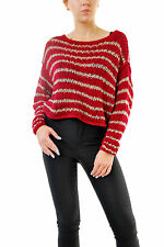 Free People Women's Authentic Over And Easy Stripe Sweater Red RRP £108 BCF69