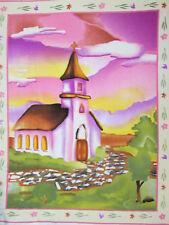 CHURCH COUNTRY CROSS WEDDING CHURCH PASTELS FLEECE FABRIC PANEL OOP