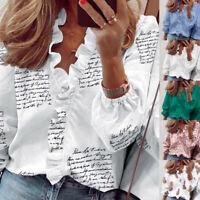 UK Women Long Sleeve Shirts Blouse Ladies Ruffle V-neck Top T-Shirts Plus Size