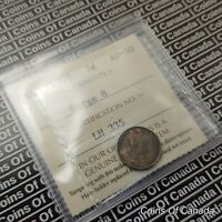 1908 Canada 5 Cents Silver Coin - ICCS AU-50 Large 8 #coinsofcanada