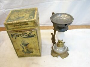 Antique Vapo-Cresolene Vaporizer Kerosene Oil Lamp Medical Cure in Box Inhalant