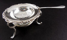 ITALIAN 800 SILVER TEA STRAINER with FOOTED STAND, HALLMARKED, TIMELESS CLASSIC