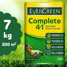 EverGreen Lawn Care Bag Complete 4 in 1 Lawn Feed Weed Moss Killer 7kg 200m sq