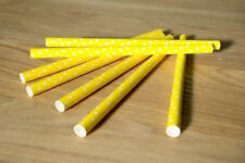 Yellow Dotty Paper Straws, Pack of 100
