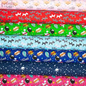 Kids Polycotton Fabric Children Boy Girl Nursery Craft Material Space Super Hero