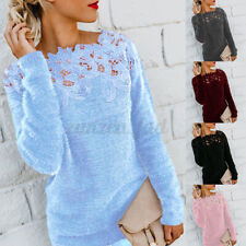 Womens Winter Warm Sweater Tops Ladies Lace Hollow Jumper Pullover Top Plus Size