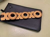 St. John Gold Brushed Textured Gold Tone XOXO BELT BUCKLE ONLY