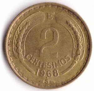2 Centesimos 1968 Chile Coin KM#193 - Flying Andean Condor