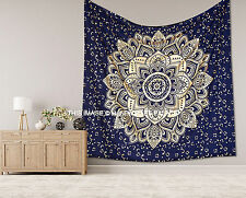 Ombre Mandala Gold Cotton Bedspread Wall Hanging Indian Handmade Tapestries