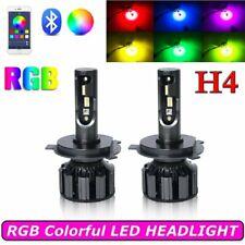 H4 9003 RGB LED Headlight Kit Hi/Low Beam Drive Fog Lights APP Bluetooth Control