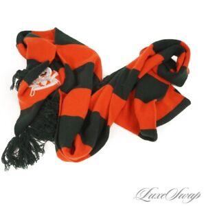 #1 MENSWEAR Polo Ralph Lauren 100% Cashmere Green Orange Stripe Stadium Scarf NR