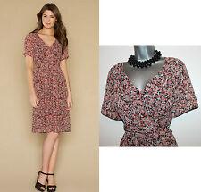 MONSOON Brown Floral Alexis Boasts Vintage Short Sleeve Tea Dress UK 12 RRP £59
