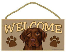 Chocolate LABRABOR RETRIEVER Lab Dog 5 x 10 Wood WELCOME SIGN Plaque USA Made