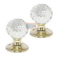 Glass Mortice Door Knob Ball Handle Polished Brass Backplate
