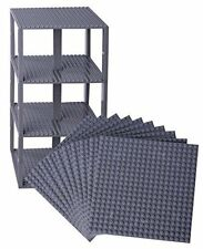 "Lego Base Plates Brick Building Stackable Tower  Mega Bloks 10 Pack 6""x6"" Gray"