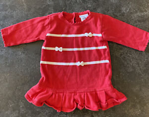 Florence Eiseman  100% Cotton Sweater Dress with White Bows Girls Size 9months