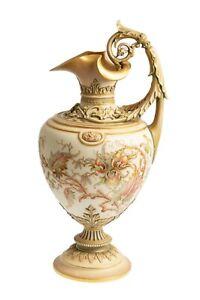 Exceptional Royal Worcester Ivory Glaze & Antique Gold Ewer Model 1309