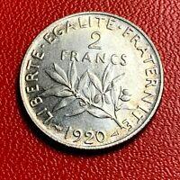 #3798 - RARE - 2 francs 1920 Semeuse Argent SUP/SPL - FACTURE