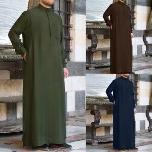 UK STOCK Men Muslim Thobe Islamic Arabic Clothes Casual Long Sleeve Robe Tops