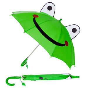 Kids Boys Girls Lovely 3D Green Frog Sun Rain Anti-UV Windproof Pop-up Umbrella