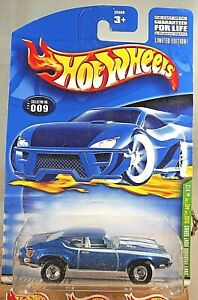 2001 Hot Wheels #9 Treasure Hunt 9/12 OLDS 442 Blue w/Real Riders Chrome DD Sp
